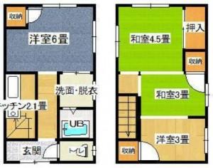 間取り図。左が1階、右が2階です。